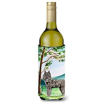 Bajo el árbol Bouvier des Flandres vino botella bebida aislador Hugger