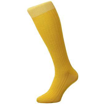 Pantherella Danvers costela Lisle de algodão sobre as meias de bezerro - amarelo ocre