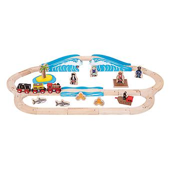 Bigjigs Rail Wooden Pirate Train Track Play Set Railway Accessories