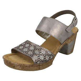 Sandalias de tacón de señoras Rieker doble correa bloque 69730