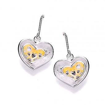 Cavendish French Gold Vermeil and Brushed Silver Double Heart Earrings