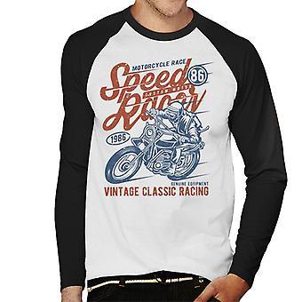 Moto speedway Racing da Baseball maschile lungo maniche t-shirt