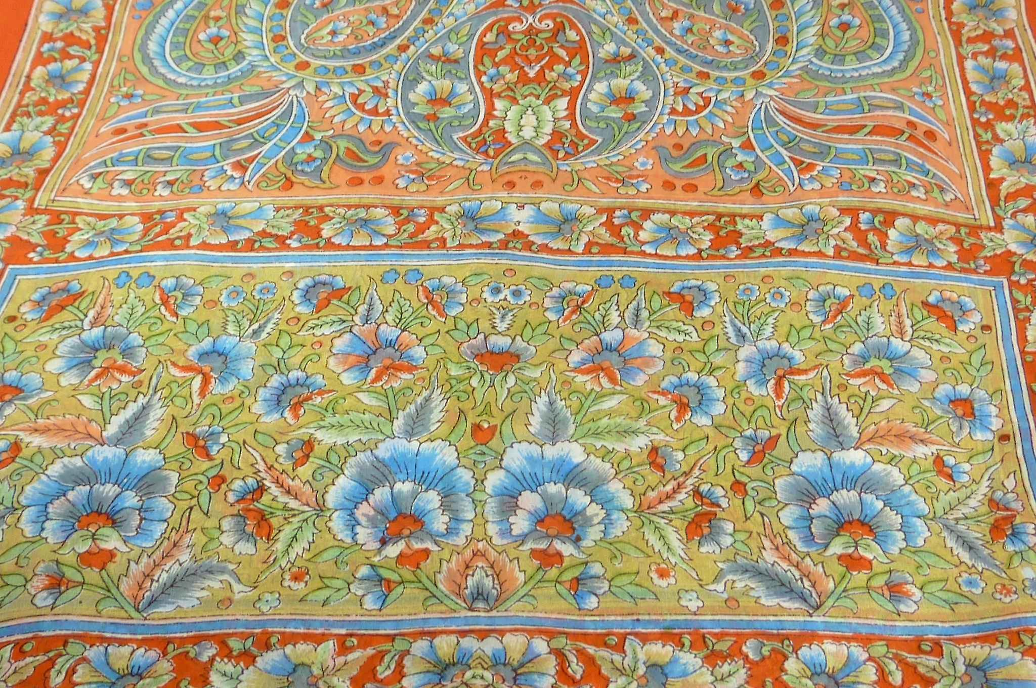 Classic Paisley Long Scarf Mulberry Silk Chia Marigold by Pashmina & Silk