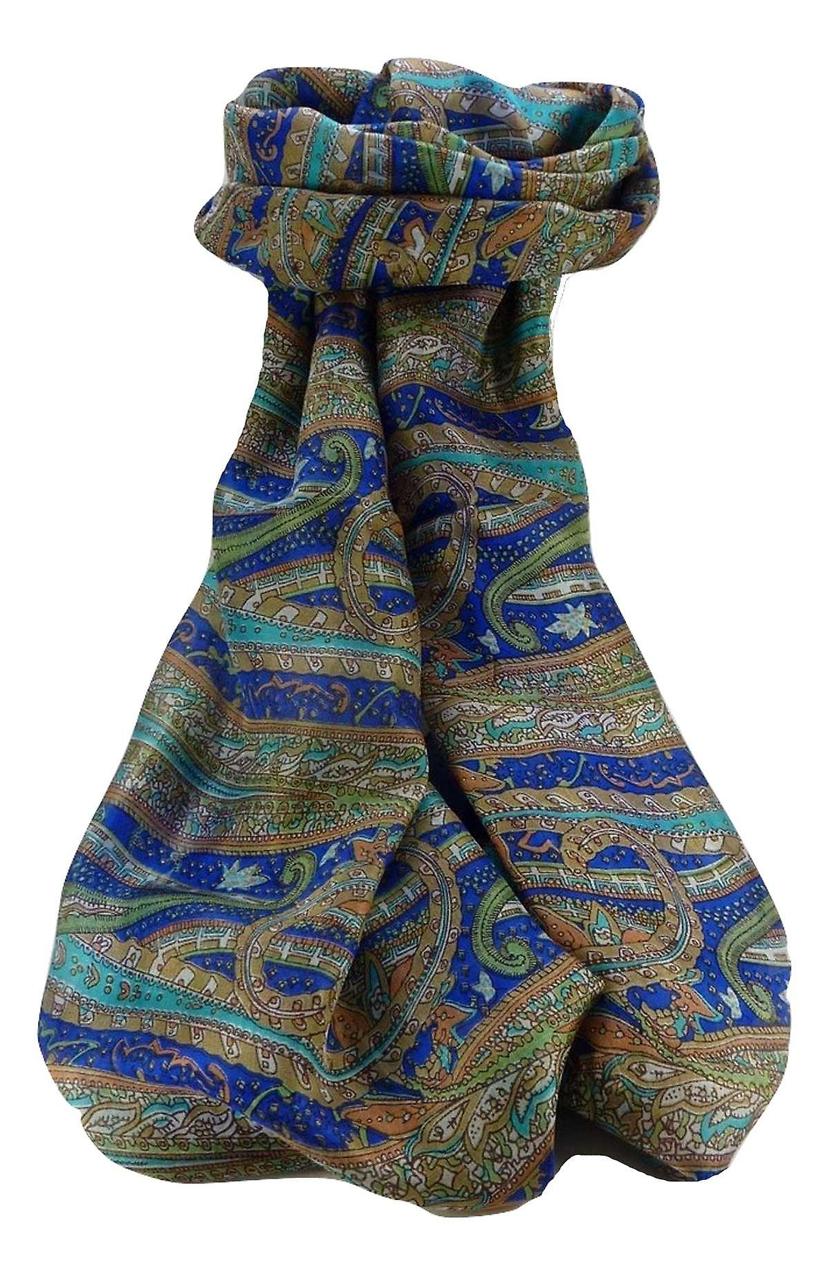Mulberry Silk Traditional Long Scarf Gosthani Blue by Pashmina & Silk