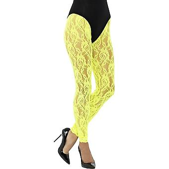 80's Lace Leggings, Neon Yellow