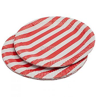 Pack of 20 Plates Paper Red Striped 23cm Diameter