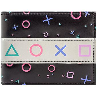 PlayStation Console PS1 Retro Controller Buttons Black ID & Card Bi-Fold Wallet