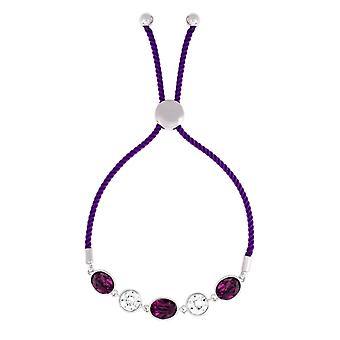 Bertha Jemma Collection Women's 18k WG Plated Purple Bolo Rope Fashion Bracelet