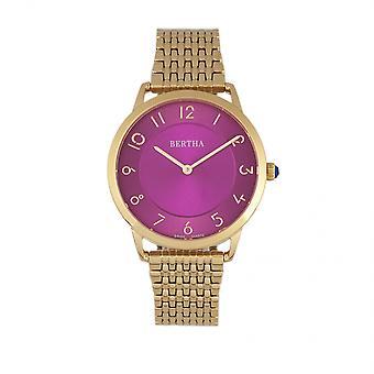 Reloj de pulsera suizo Abby de Bertha - oro rosa/fucsia