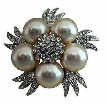 ブライダル模擬ダイヤモンド結晶真珠ビンテージ ブローチ ピン