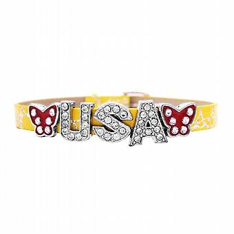 Be Proud To Wear This Bracelet w/ Letter USA Sparkle Like Diamond