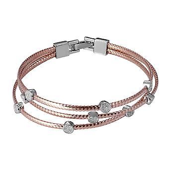 Orphelia 925 srebrny bransoletę potrójne Rose z cyrkonu 16 CM ZA-7414