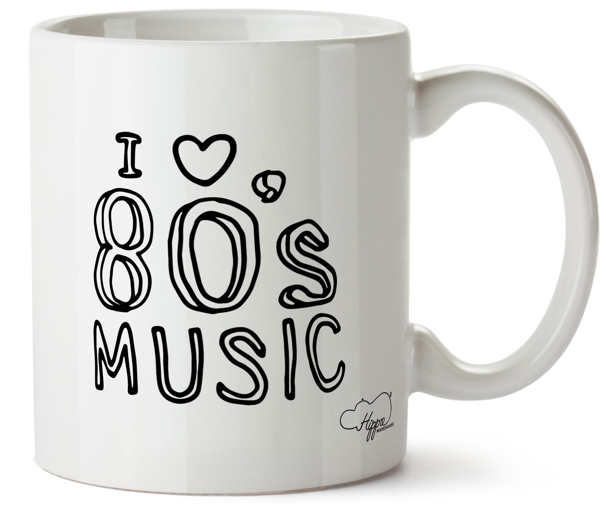 Hippowarehouse я люблю музыки 80-х печатных Кружка керамическая чашка 10 oz