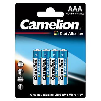 Batteries AAA 4-pack, LR03 Camelion Digi Alkaline Battery