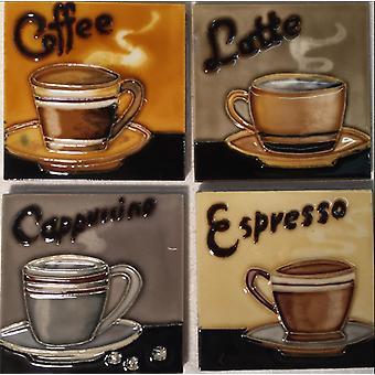 YH Arts keramiska väggkonst / glasunderlägg, kaffe, Set 4