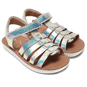 Shoo Pom by Pom D'Api Goa Spart Glossy Glitter Sandal, Silver/Blue