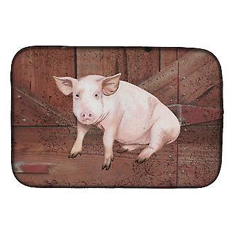 Carolines Treasures  SB3072DDM Pig at the barn door Dish Drying Mat