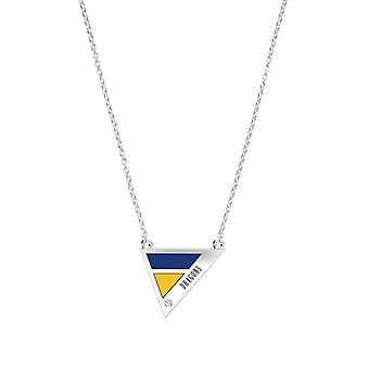 Drexel University Engraved Sterling Silver Diamond Geometric Necklace In Blue and Yellow