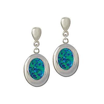 Eeuwige collectie Idaho donker blauwe opaal zilveren Toon Drop Clip op oorbellen (MM)