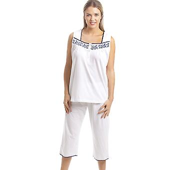 Camille Classic White Sleeveless Pyjama Set With Navy Floral Design