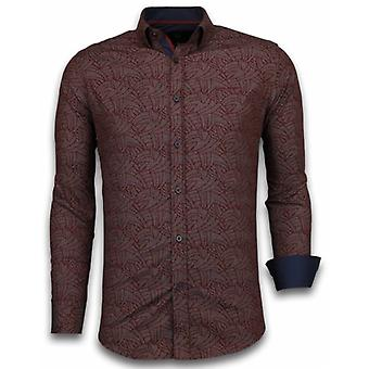 E Shirts - Slim Fit - Dotted Leaves Pattern - Bordeaux