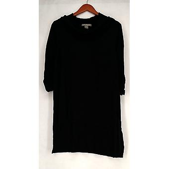 Kate & Mallory Sweater Cowl Neck Tunic Black Womens A428098
