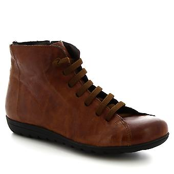 Leonardo Shoes Women's handmade lace-ups zip ankle boots in tan calf leather