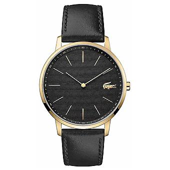 Lacoste | Mens lune | Noir bracelet en cuir | Cadran noir | Watch 2011004