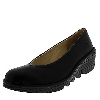 Womens Fly London Pump Mousse Black Wedge Heel Work Office Ballerina Shoe