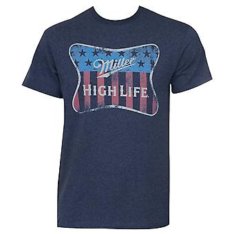 Miller High Life Navy Blue Patriotic Tee Shirt