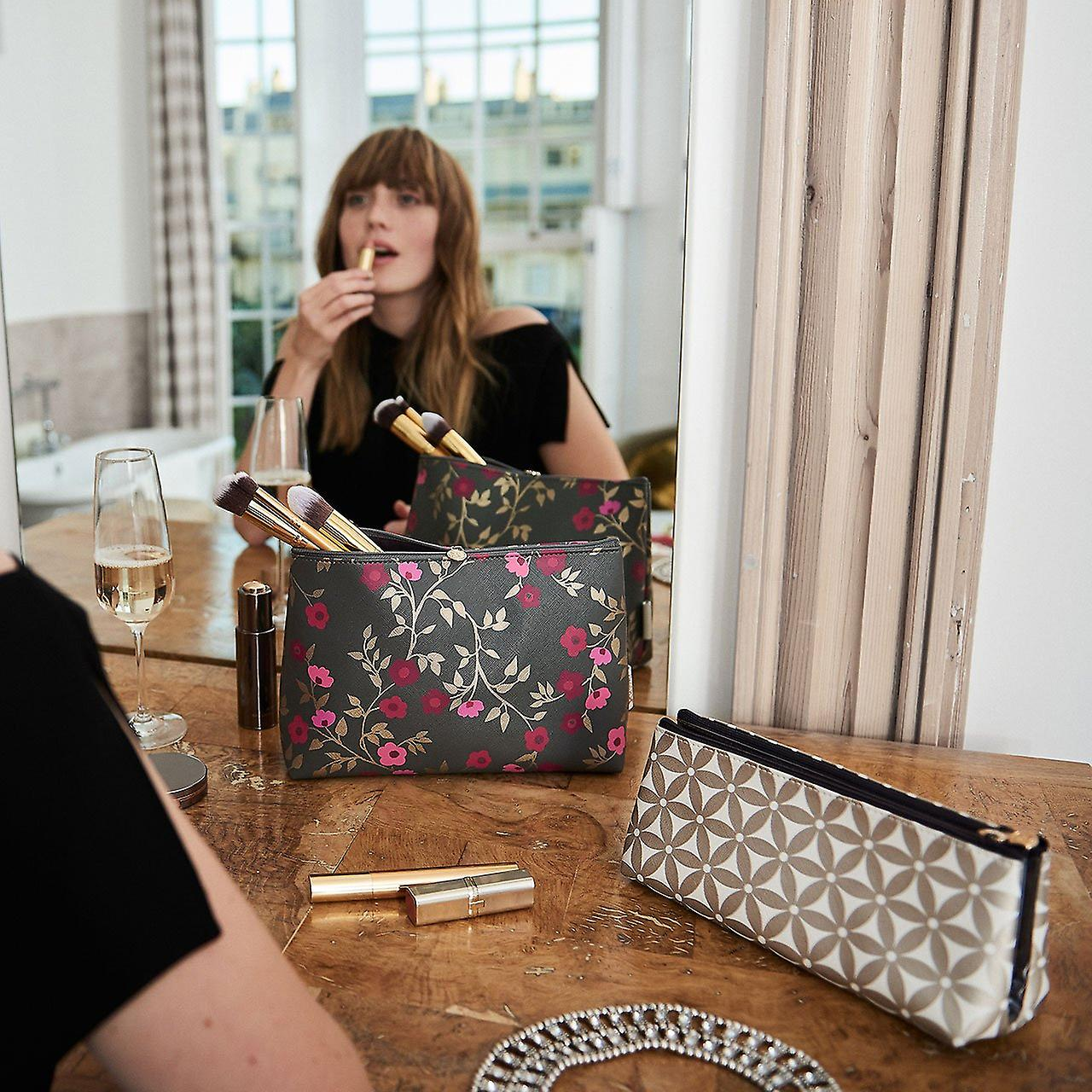 'lauren' folding makeup bag in starflower gold