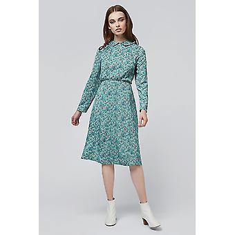 Louche Lauriann Piping Detail Floral Midi Dress Green