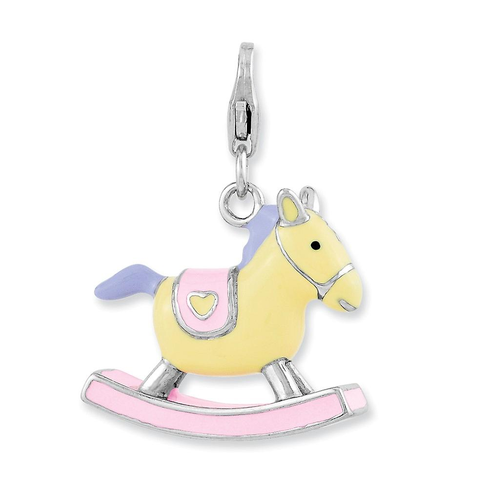 925 Sterling Silver Fancy Lobster Closure Enameled 3-d Rocking Horse With Lobster Clasp Charm