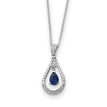 925 Sterling Silver Polished Gift Boxed Spring Ring Rhodium plated September Created Sapphire Necklace 1/2 Inch x 1 Inch