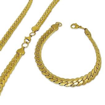 Set Halsband & Armband Stainless Steel Gold 8mm