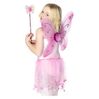 Meisjes vlinder vleugels & Wand Fancy Dress accessoire