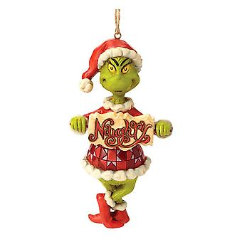 Dr. Seuss The Grinch Naughty or Nice Sign Hanging Ornament