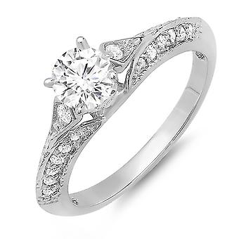 Dazzlingrock Collection 14K Moissanite & White Diamond Solitaire with Accents Bridal Engagement Ring, White Gold