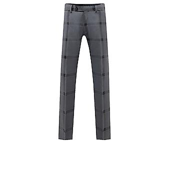 Dobell Mens Grey/Black Bold Check Suit Trousers Regular Fit