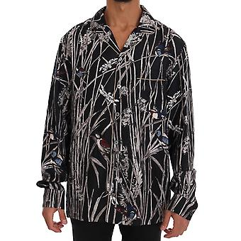 Black Bird Print Pajama Shirt