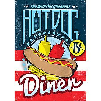 Grindstore Il mondo più grande Hot Dog Diner Tin Segno
