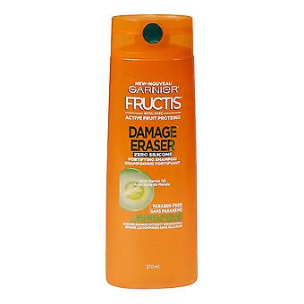 Garnier Fructis Damage Eraser Fortifying Zero Silicone Shampoo with Marula Oil, Damaged, Fine Hair, 370 mL