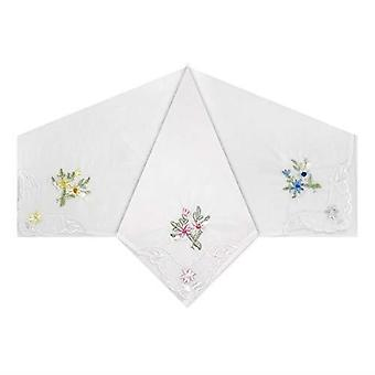 Womens/Ladies Handkerchiefs Floral Embroidered Detail With Scallop & Lace Corners