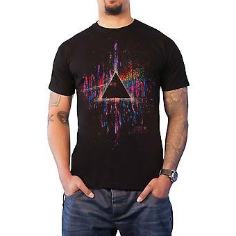 Pink Floyd T Shirt Dark Side of the Moon Pink Splatter Official Mens New Black
