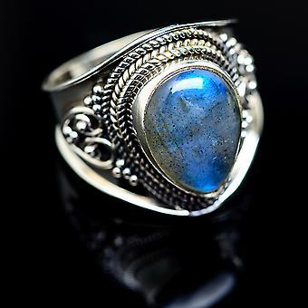 Labradorite Ring Size 8.75 (925 Sterling Silver)  - Handmade Boho Vintage Jewelry RING977994