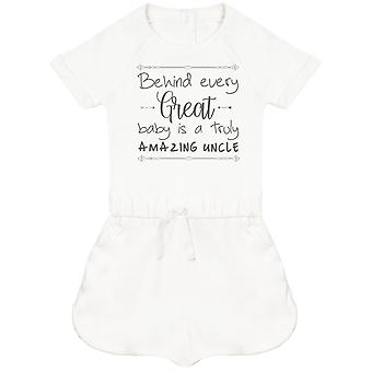Behind Every Great Baby Is A Truly Amazing Uncle Baby Playsuit