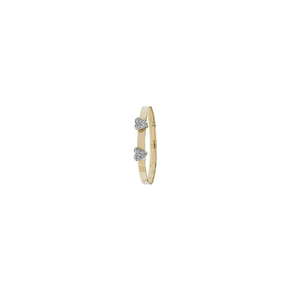 Eternity 9ct Gold Expanding Kids/Baby Bangle With 2 Cubic Zirconia Hearts