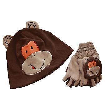 Kids Thermal Fleece Novelty Winter Hat And Flip Mitt Set Set 6-9 Yrs Monkey