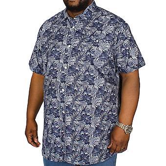 Duke D555 Mens Sheldon Big Tall King Size Hawaiian Short Sleeve Shirt - Navy