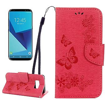 For Samsung Galaxy S8 Wallet Case,Fancy Butterflies,Embossed Leather Cover,Red